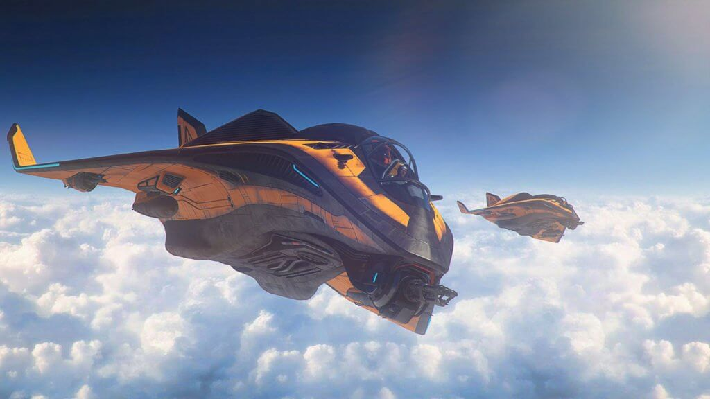 Star Citizen Avenger Titan Renegade in flight.