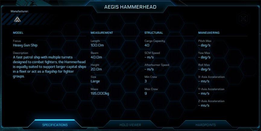 Aegis Hammerhead Specifications