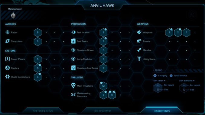 Anvil Hawk Weapons