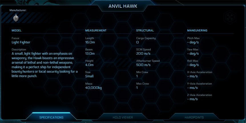 Anvil Hawk Specifications