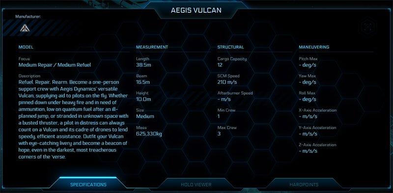 Vulcan Ship Stats